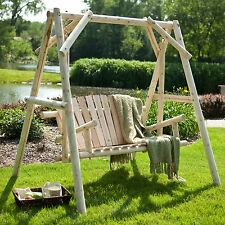 Rustic Natural Finish A-Frame Hanging Patio Love Seat Swing Outdoor Furniture