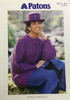 """Patons Ladies Cable Sweater Super Chenille KNITTING PATTERN 4983 - (30-40"""")"""