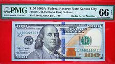 2009A FR-2187-J $100 FRN BEAUTIFUL RADAR SERIAL  66622666 PMG 66 EPQ