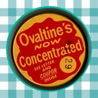 Vintage 1970's Ovaltine's Now Concentrated Jar Lid Juice Drink Mix Malted Powder