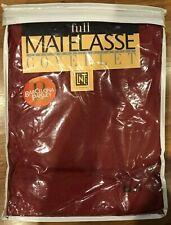 New Matelasse Coverlet Full Maroon Barcelona Pattern Bedspread Scalloped Edges