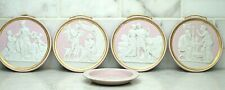 Antique Pink & White Jasperware Wall Plaque Set of 4 & Small Ring Dish Group