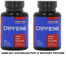 2 x PROLAB NUTRITION CAFFEINE 200mg 100 Tablets Energy Fat Burner 200 TabsTotal
