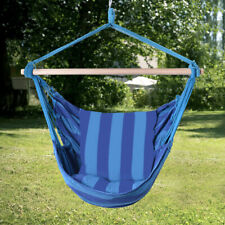 Deluxe Hammock Rope Chair Patio Porch Tree Hanging Air Swing for Relaxing Blue
