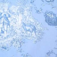 PRINCESS 2 BLUE / BLUE - MAS D'OUSVAN FRENCH TOILE 100%  COTTON FABRIC