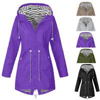 Women Long Sleeve Hooded Wind Jacket Ladies Outdoor Waterproof Rain Coat UK
