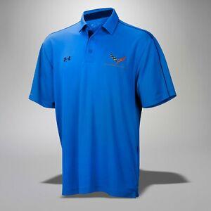 2014-2019 Corvette Mens Under Armour Tech Polo Shirt w/ Logo & Script 3XL Blue