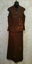 Donna Morgan Brown/W Embroidery Design SleevelesTop & Maxi Skirt Set Sz 12 #2411