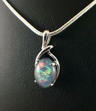 Lightning Ridge Opal Triplet Necklace Pendant w Cert & Chain / White Gold Plated