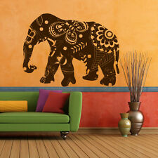Wall Decal Elephant Mandala Ganesh Indian Buddha Pattern Damask Bedroom M1402