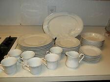 H D Fine China ~ 40 Piece Set ~ Light Blue Flowers ~ Plates Cups Bowls