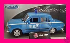 Spedizione LAMPO FIAT 125 P MILICJA Blu/Blue Welly Modello Auto 1:34 NUOVO & OVP