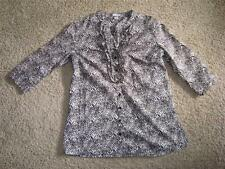 ~HANNAH M BANDED RUFFLE REPTILE VENTED TOP BLOUSE BROWNS/WHITE $3.50 SHIPPING~