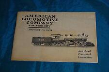 Articulated Compound Locomotives Mellin American Locomotive Company 10034