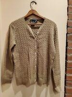 Ralph Lauren Sport Tan Cotton Cable Knit Cardigan Sweater Sz L POLO Pony ELNC