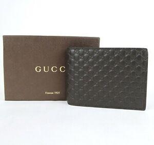 Gucci Men's Dark Brown Guccissima Leather Bi-fold Wallet 367287 2044