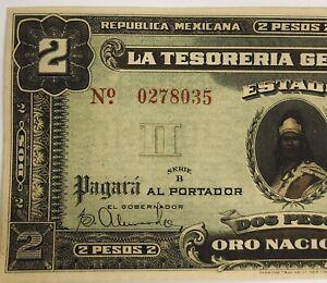 MEXICO YUCATAN BANKNOTE 2 PESOS M4133 TESORERIA GENERAL DEL ESTADO 23.05.1916