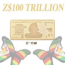WR Zimbabwe Z$100 Trillion Dollars Gold Bullion Metal Bar 9.5x4.5 cm Collection