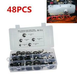"""48PCS Car Hose Insulated Clamp 1/2"""" 1/4"""" 3/4"""" 3/8"""" Stainless Steel Cable Clamps"""