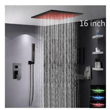 "LED Black Ceiling Rain Shower & Hand Shower Set Single Handle,Shower Head 16"""