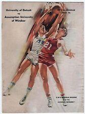 1962 UNIVERSITY DETROIT Michigan ASSUMPTION Windsor Ontario NCAA Basketball