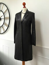 JIGSAW Ladies butter soft black leather coat / trench UK 10