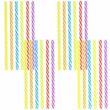 "MULTICOLOR DRINKING REUSABLE STRAWS 7.5"" Tumbler Kids Spiral Stripe Design x24"