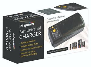C012 Infapower Universal Battery Charger for AA, AAA, 9v volt, C and D cells