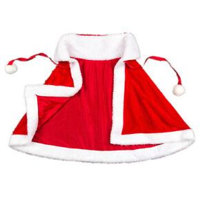HQ Women's Merry Christmas Mrs Santa Claus Red Cloak Xmas Costume Pleuche Cape