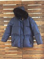 Women's Petite M RALPH LAUREN Black Label Puffer Coat Jacket Faux Fur Hood Blue