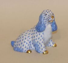 Herend Blue Fishnet & Gold Cocker Spaniel Puppy Dog Figurine 15455