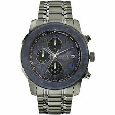Mens Guess Axle Chronograph Stainless Gunmetal and Blue Watch W22522G2