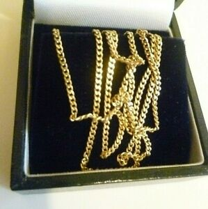 """HALLMARKED 9CT YELLOW GOLD FINE CURB CHAIN NECKLACE not scrap 1.5mm 18"""" 2.9g box"""