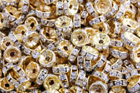50 Pcs Gold Plated Crystal Rondelle Spacer Beads Charms Jewelry Findings 8mm