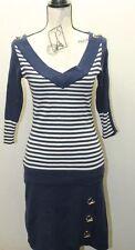 YUKA Nautical Women Dress Blue 100% Cotton Cruise Toggle Small Holiday