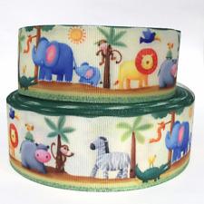 "Grosgrain Ribbon 5/8"", 7/8"", 1.5"", 3"" Safari Animals Lion Elephants Printed"