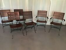 6 Pottery Barn wood & wrought iron folding patio dining chairs & cushions