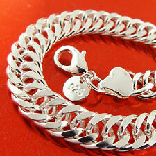 BRACELET BANGLE GENUINE REAL 925 STERLING SILVER SF SOLID MEN'S DOUBLE CURB LINK