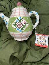 Nwt Mary Engelbreit Ceramic Pink & Green Teapot with roses & flowers 1998