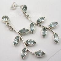 "925 Sterling Silver Natural Blue Topaz Stud Post Earrings 1.8"" Art Gift"