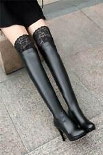Sexy Tight Over The Knee High Thigh Boots Lace High heels Stilettos Dress Shoes