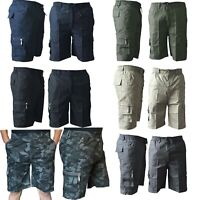 Mens Summer Plain Elasticated Cotton Shorts Lightweight Gym Cargo Combat Pants