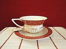 Grace's Teaware Abbey Gold Red 8oz Teacup & Saucer Set New.
