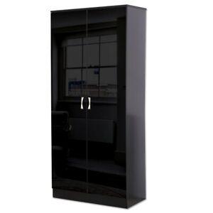 Black High Gloss 2 Door Double Wardrobe Bedroom Furniture Shelf & Hanging Rail
