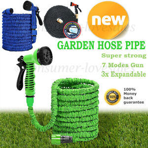 50FT-200FT Expandable Flexible Garden Hose Pipe With Brass Fittings & Spray Gun
