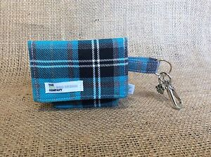 Tartan Dog Pouch, Blue Turquoise and Grey Tartan - Dog Poo Bag Carrier
