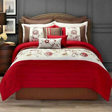 Hotel Style 11 Piece Bedding King Comforter Set Collection Red & Brown - NEW
