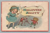 """Halloween Jollity"" Rare Antique PC Candle JOL Elves Elf Pumpkin—USA Pub 1915"