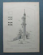 AR90) Architektur Stuttgart Degerloch 1890 Aussichtsturm  Holzstich 28x39cm