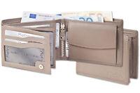 Platino Herren Geldbörse im Querformat aus feinstem Nappa Leder in Grau